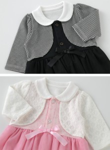 99d99229f58bb ティノティノワンピース風長袖スカート付きロンパース ベビー服  赤ちゃん  服  ベビー  ロンパース  フォーマル  長袖  女の子  70  80