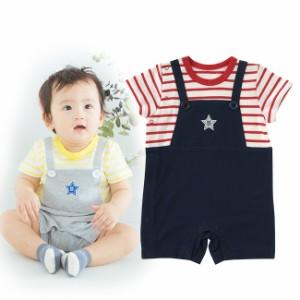 2be9609c73b1a ボンシュシュサロペット風半袖カバーオール ベビー服  赤ちゃん  服