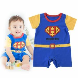 f12833e1453d4 スーパーマン風半袖カバーオール ベビー服  赤ちゃん  服  ベビー