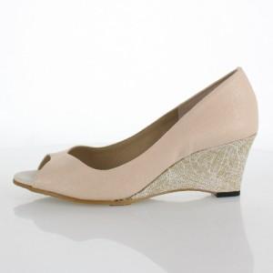 JELLY BEANS ジェリービーンズ 靴 112-05532 パンプス ウェッジヒール 刺繍 花柄 サンダル ベージュ レディース