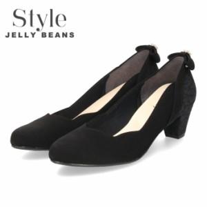 【還元祭クーポン対象】 STYLE JELLY BEANS ジェリービーンズ パンプス ヒール 靴 レディース 5348 ブラック 太めヒール アーモンドトゥ