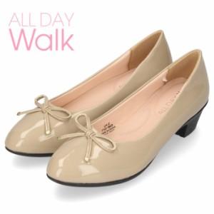 オールデイウォーク 靴 パンプス ローヒール ALD2300 オーク 2E ワイズ アーモンドトゥ リボン エナメル 簡易防水