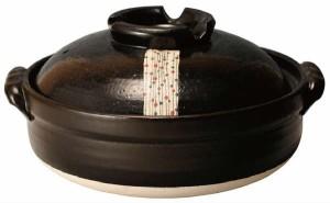 萬古焼【土鍋】黒玉すだれ 8号 土鍋+黒すだれ呑水(3個)セット〈国産品〉安心・安全の日本製土鍋〈玉すだれシリーズ〉