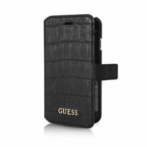 db7d601825 GUESS 公式ライセンス品 iPhone6s iPhone6 手帳型ケース ブラック ブランド カードポケット付 クロコダイル調