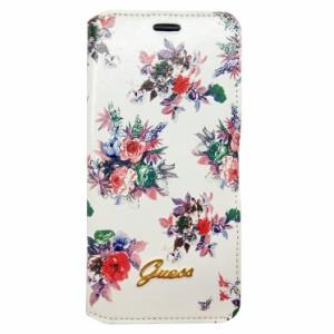 933b11217c GUESS 公式ライセンス品 iPhoneSE iPhone5S iPhone5 手帳型ケース ホワイト ブランド フラワー 花柄 ロゴ