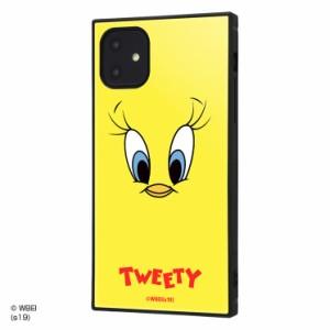 ルーニー・テューンズ iPhone11 耐衝撃ハイブリッドケース 衝撃吸収 KAKU 四角い トゥイーティーフェイス IQ-WP21K3TB-TW001
