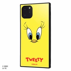 ルーニー・テューンズ iPhone11 Pro Max 耐衝撃ハイブリッドケース 衝撃吸収 KAKU 四角い トゥイーティーフェイス IQ-WP22K3TB-TW001