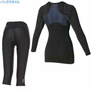 アシックス asics ウィメンズ ロングスリーブシャツ&セミロングタイツRF上下セット ブラックサックス×ブラック
