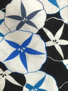 京都で一番浴衣を販売する小売屋さんお薦め 仕立て上がり浴衣  対応身長 153cm-168cm 変わり織 黒地 朝顔 柄 No.30073