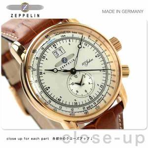56eefe00ca ツェッペリン LZ1 100周年 記念モデル デュアルタイム 7640-5 Zeppelin メンズ 腕時計 クオーツ アイボリー