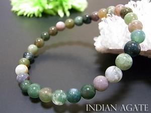 パワーストーン 天然石 ブレスレット インディアンアゲート 6mm玉 数珠 念珠 お試し価格