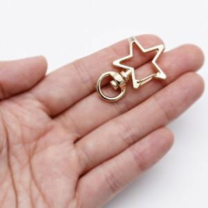 星型カニカン キーホルダー金具 1個[ゴールド]★基礎金具 キーチェーン ナスカン カギ 鍵 バッグチャーム金具 スター 宇宙