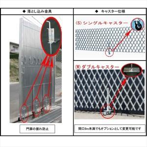 日高機材 伸縮門扉 AFL-2.5m H=1.8m 両開きセット 埋め込みタイプ 中組パイプ アルミ製 『カー