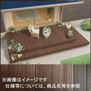 リクシル TOEX 樹ら楽ステージ 木彫 間口2.0間×出幅8尺 ロング束柱Aセット 『ウッドデッキ キット 人工木 腐りにくく美しい樹脂デ