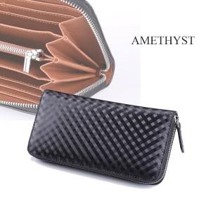 02dbf6aa2965 AMETHYST アメジスト 長財布 スペインレザー ラウンドファスナー グラフィット柄 財布 AM-01 BK