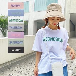 秋新作 Day of the WeekロゴTシャツ C5689 入荷済 レディース トップス 半袖 大人 ゆったり 綿100 カジュアル デイリー 白 黒