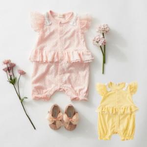 413525be6 【ベビー】【Kids zoo】リボン付きロンパース ベビー服 赤ちゃん 男の子 女の子 かわいい 綿