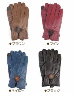 ラム革 手袋 レディース スマホ対応 -ポンポン-