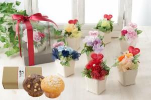 【送料無料】プリザーブドフラワー スイーツセット ケース付き 母の日 ギフト プレゼント