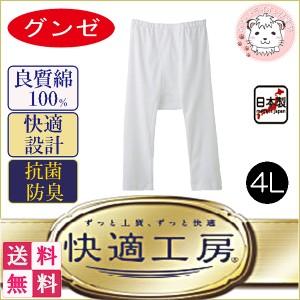 【送料無料】グンゼ 快適工房 半ズボン下 大きいサイズ メンズ GUNZE ステテコ ズボン下 前あき 5枚セット フライス 綿100% 日本製 4L