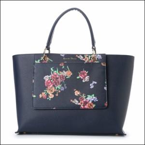 サマンサタバサ 正規品 花柄ポーチ付きトートバッグ ネイビー