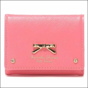 d6f019473c50 サマンサタバサ プチチョイス エナメルシンプルリボン 三つ折りミニ財布 コーラルピンク