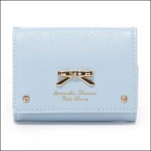 サマンサタバサ プチチョイス エナメルシンプルリボン 三つ折りミニ財布 ライトブルー