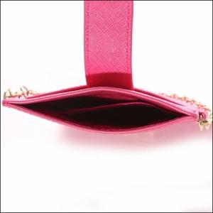 サマンサタバサ プチチョイス シンプルリボンプレート 携帯用チェーン付ポーチ フューシャピンク