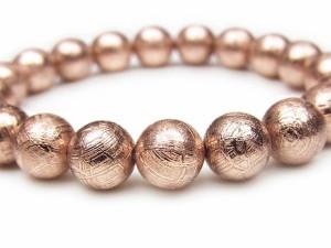 ムオニナルスタ隕石 メテオライト ピンクゴールドカラー 丸玉ブレス 10mm【1点もの】★送料無料★
