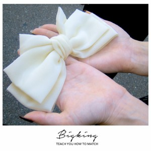 【送料無料】リボン バレッタ ヘアアクセサリー ヘアピン シュシュ 小物  レディース 大き目 シンプル ブラック ホワイト ピンク