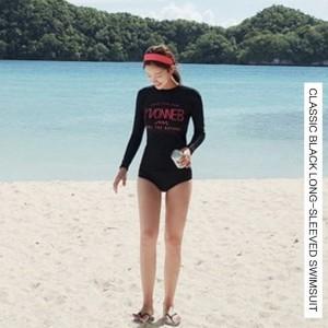 水着 長袖 スイムウェア レディース サンガード 黒 日焼け対策 ピンク 可愛い 大人 夏 海 プール 肌隠し ストレッチ Uネック