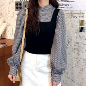 トップス レディース キャミニット レイヤード プルオーバー トレンド 可愛い コーデ オフィス 通学 韓国ファッション