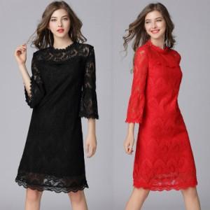 結婚式 パーティードレス 黒 赤 L-6L ぽっちゃり 大きいサイズ 予約 七分袖 袖あり 花柄 刺繍 総レース ワンピース MD-Y16089 送料無料