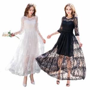 結婚式 パーティードレス ぽっちゃり S-5L 白 黒 大きいサイズ 予約 長袖 袖あり 花柄 刺繍 レース ロングドレス ワンピース QFM-985856