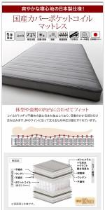 ダブルベッド マットレス付き 国産カバーポケットコイル デザインベッド スチール脚タイプ フルレイアウト:フレーム幅140