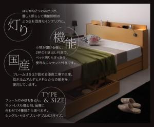 シングルベッド マットレス付き 収納付きベッド 国産ポケットコイル ライト・コンセント付きベッド シングル 引き出し収納