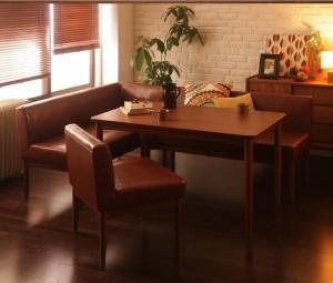 ダイニングテーブルセット 4人掛け おしゃれ レトロモダンカフェ 3点セット(テーブル120+ソファ+左アームソファ)