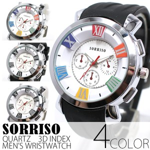 0e57aa9ede 正規品SORRISOソリッソ ローマ数字にフェイククロノグラフ ラバーベルト時計 SRHI15 メンズ腕時計