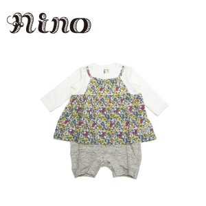 6ad8ca49547df nino ニノ 子供服 18秋冬 フラワープリントロンパース nino11851103