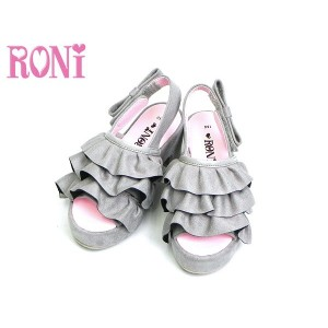 RONI ロニィ ロニー 子供服 18秋冬 スエードフリルチャンキーヒールサンダル r1384917003203