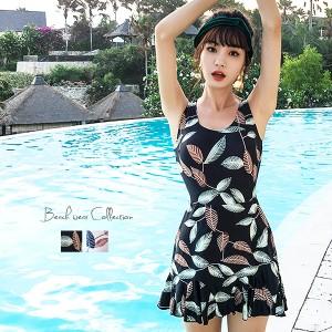 夏新作 水着 レディース ワンピース 体型カバー リーフ柄 大きいサイズ ママ水着 ミセス おしゃれ セクシー かわいい リゾート 大人 女性