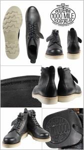 ウルヴァリン 1000マイル ブーツ WOLVERINE ブーツ PRESTWICK 1000 MILE WEDGE BOOT Dワイズ W00914 ブラック ワークブーツ メンズ