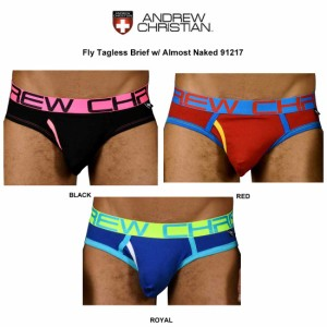 (SALE)ANDREW CHRISTIAN(アンドリュークリスチャン)ブリーフ Fly Tagless Brief w/ Almost Naked 91217