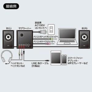サンワサプライ 木製2.1chマルチメディアスピーカー MM-SPWD3BKN