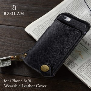 55ec7180d2 iPhone6 iPhone6s対応 ケース カバー BZGLAM ウェアラブルレザー(ブラック)ネックストラップ付 本革 サンクレスト  i6S-BZ09