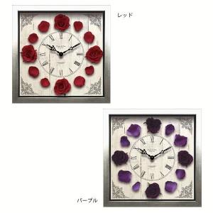 掛け時計 ポップ 可愛い 壁掛け時計 時計 バラ ローズ レッド パープル
