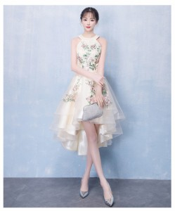 高品質 刺繍 パーティドレス ナイトドレス ワンピース ホルターネック ミドル丈 二次会 発表会 演奏会 撮影 オーダーサイズ可能 D124