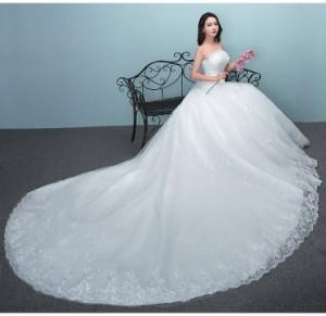 94438c3c945cb ウェディングドレス Aライン トレーン ビスチェ 白 結婚式 大きいサイズ オーダーサイズ可 グローブ パニエ