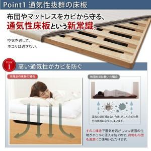 ベッド セミダブル 跳ね上げベッド No-Mos ノーモス Sポケットマットレス付き 横開き 深さグランド