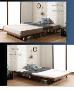 デザインベッド Bona 木脚タイプ プレミアムボンネルコイルマットレス付き:セミダブル:フルレイアウト フレーム幅120